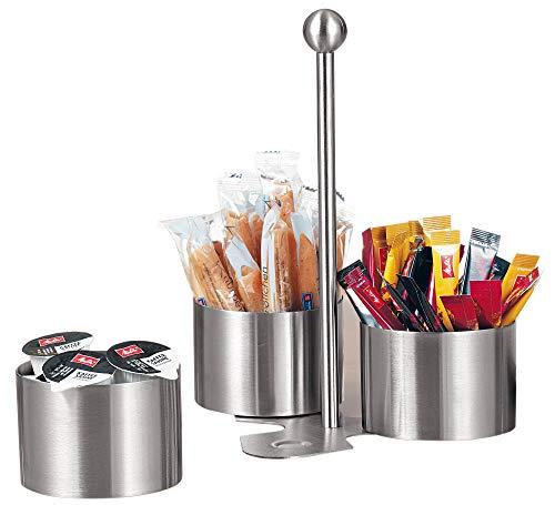 Esmeyer Snack-und Dip-Set Boston aus gebürstetem Edelstahl, Silber, 17 x 17 x 24 cm