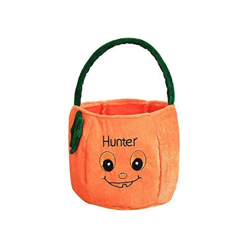 Treestar Halloween-Leckerli-Tasche Süßigkeiten-Handtasche leer Tote Geschenktasche Kürbis Tuch Behälter für Süßigkeiten Buffet Party Dekoration, Stoff, Pumpkin 1, 15 * 25cm
