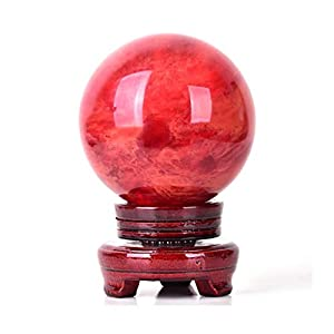 OMING Decorative Balls Natural Red Crystal Sphere, Rare Red Power Stone Ball for Crystal Healing, Meditation, Scrying, Feng Shui, Hand-Made (80mm) Crystal Ball