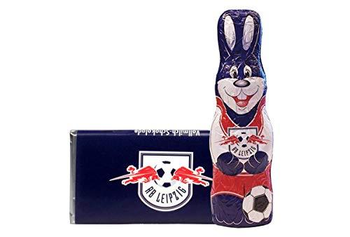 Kleines Ostern-Schoko-Fanpaket - Bundle mit einem Osterhasen und einer Schoko-Tafel aus Fairtrade-Kakao (250 g) (RB Leipzig)