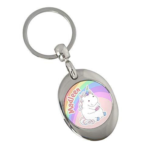Schlüsselanhänger mit Namen Madleen und Einhorn-Motiv in Pastell-Farben   Namens-Anhänger mit Einkaufs-Chip für Kinder und Erwachsene