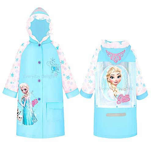 Group Ruz Frozen Anna /& Elsa Girls Waterproof Hooded Raincoat