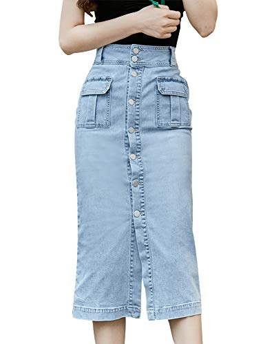 LISUEYNE dames Casual potlood Midi Denim rok hoge taille