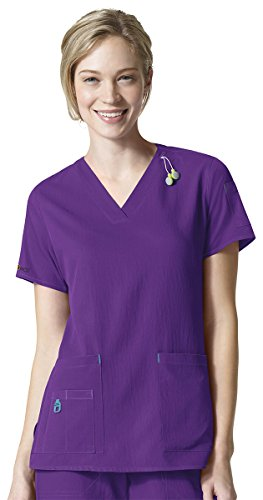 Carhartt Women's Cross-Flex Media Scrub Top, Electric Violet, Large