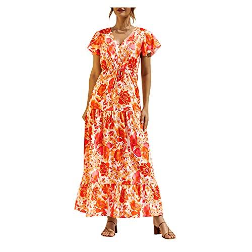 YANFANG 2021 Vestido Verano Mujer,Vestido De BotóN Encaje con Estampado Floral Y Cuello En V Informal Manga Corta A La Moda para Mujer,Vestidos Mujer Verano,Moda Vestidos,Dorado,L