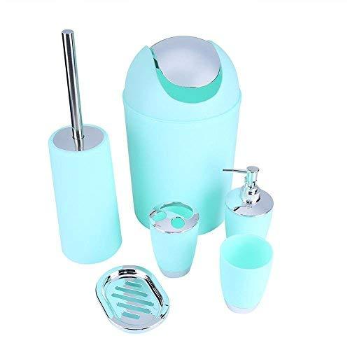 Yosoo 6 Piezas Plástico Cuarto de Baño Juego de Accesorios de Baño Loción Botellas Soporte para Cepillo de Dientes Cepillo de Dientes Jabonera Escobilla de Baño Papelera
