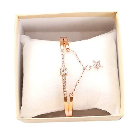 SeniorMar-UK Casual Femenino romántico Cielo Estrellado Reloj de Pulsera Pulsera de Cuero con Diamantes de imitación diseñador señoras Reloj Simple Gfit Femme Vestido de Oro Rosa