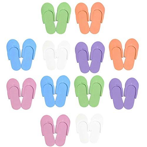 12 pares de zapatillas desechables de espuma para uso de pedicura, accesorios de pedicura, salón de spa, playa, ducha de espuma de peso ligero, sandalias de color al azar