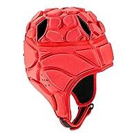 Perfeclan 調整可能なラグビーEVAパッド入りヘッドギアサッカーゴールキーパーソフトヘッドプロテイブヘルメットプロテアにユニセックスキッズユースアダルト - 赤L, 説明したように