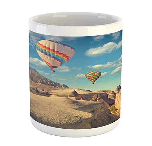 Tangry Landscape Mug, Real Life Image of Hot Air Balloons Flying over Cappadocia Turkey, Ceramic Coffee Mug Cup for Water Tea Drinks, 11 oz, Sea Blue and Multicolor