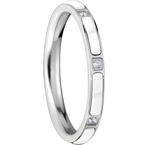 Bering Damen-Ring arctic symphony InnenRing Edelstahl Keramik Zirkonia weiß Gr. 65 (20.7) - 503-15-91