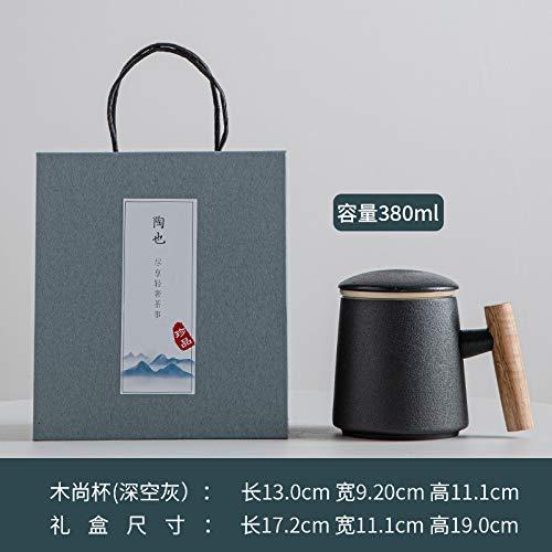 Xiaobing Taza de cerámica con Tapa para separación de té Taza de Agua Creativa con Mango de Madera Taza de té-Espacio Profundo gris-301-400ml