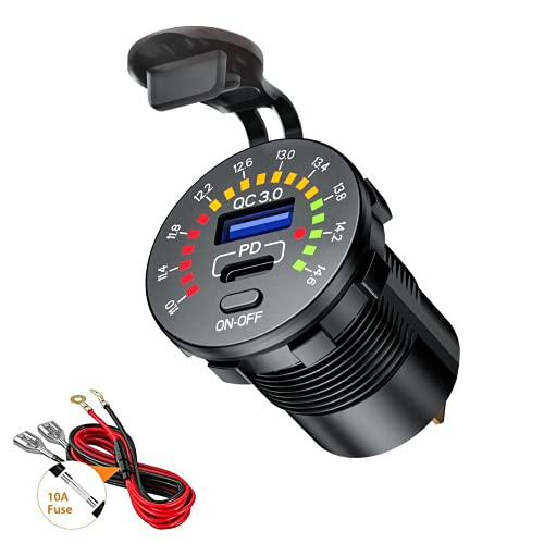 Thlevel QC3.0 y Tipo C PD Toma USB Coche 12V / 24V Cargador de Coche Impermeable con Interruptor y Voltímetro LED Indicador para Coches, Motos, VR, Camiones, Barcos