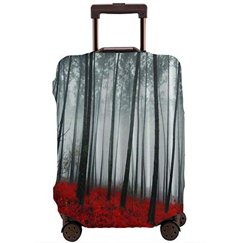 Travel Suitcase Protector Country Woodland Forest Trees Red Grass Luggage Cover Protective Travel Trunk Case Elastic Suitcase Protector Fits 18-21 Inch Luggage