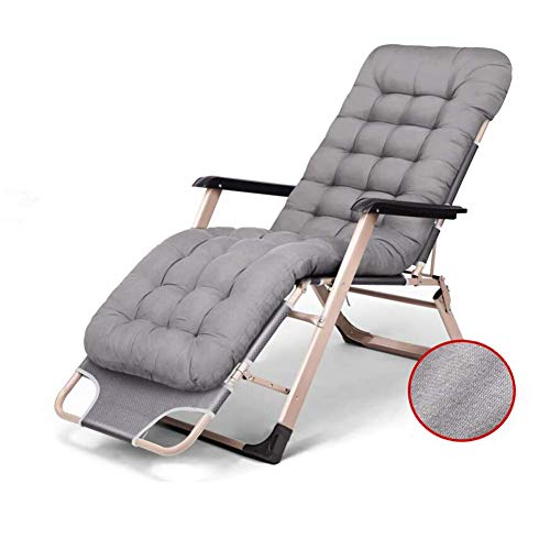 Sun Lounger Chair Recliner Bed Reclining Thick Cushion Folding Garden Padded Outdoor Rest Lazy Chair (color : Gray)