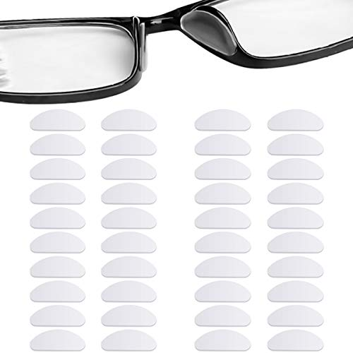 20 Pairs Silicone Nose Pads for Glasses, Stick on Nose Pads, D Shape Adhesive Nose Cushions for Eyeglasses Spectacle Reading Glasses Sunglasses, Transparent