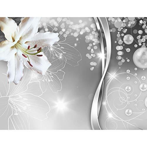 Fototapeten 396 x 280 cm Blumen Lilien | Vlies Wanddekoration Wohnzimmer Schlafzimmer | Deutsche Manufaktur | Schwarz Weiss 9077012c