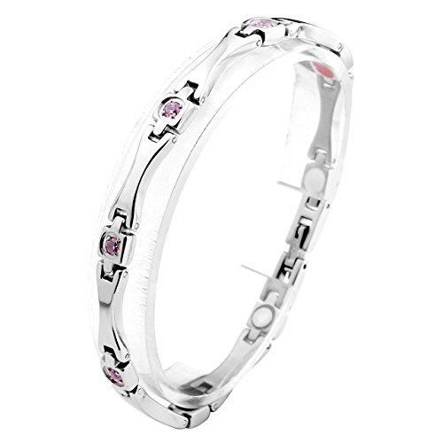 JOVIVI Schmuck Damen Magnetarmband aus Edelstahl mit Pink Zirkon 4-in-1 Magnettherapie Armband Magnetisches Armreif Silber 18.5cm