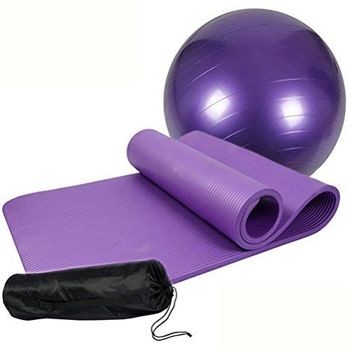 MIYOUDA Yoga Set di Spessore Antiscivolo Yoga Mat (10mm) + 1Yoga Esercizio Ball (65CM/75cm) + 1Pompa Aria + 1Borsa per Il Trasporto, Purple
