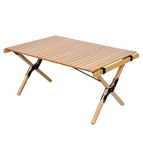 seiyishi ウッドロールテーブル 90cm×60cm アウトドアテーブル 折り畳みテーブル ハイテーブル アウトドア キャンプ コンパクト収納 SY-TRGZ-06 (TRGZ-06 ローテーブル)