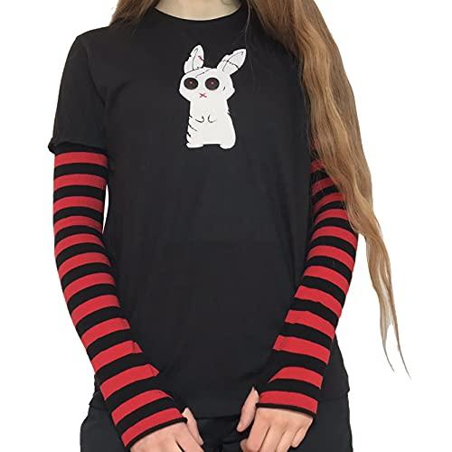 Camiseta de manga larga con estampado de dibujos animados para mujer con estampado de patchwork y bloque de color para mujer, Black Red Rabbit, M