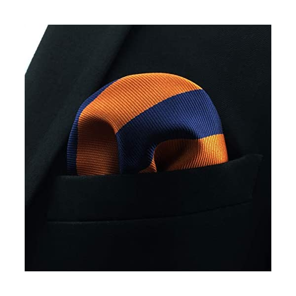 S&W SHLAX&WING Tie Sets for Men Necktie and Pocket Square Blue and Orange Stripe