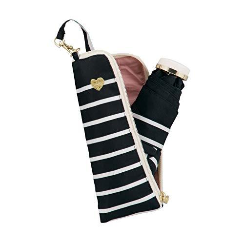 ワールドパーティー(Wpc.)雨傘折りたたみ傘ブラック黒50cmレディースジッパーケースタイプハート刺繍ボーダーゴールドミニ951-128BKハート刺繍ボーダーゴールド黒50cm(親骨)
