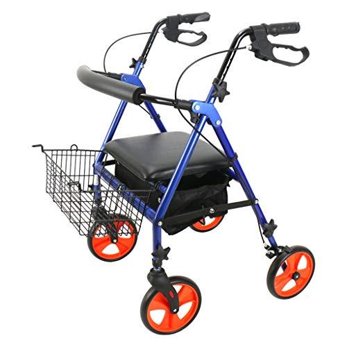 Gehhilfe Zusammenklappbare und höhenverstellbare Erwachsenenfahrhilfen für ältere Menschen + feststehende Räder und hintere Skateboards Aluminium-Einkaufswagen 4-Rad Bremsen und Taschen