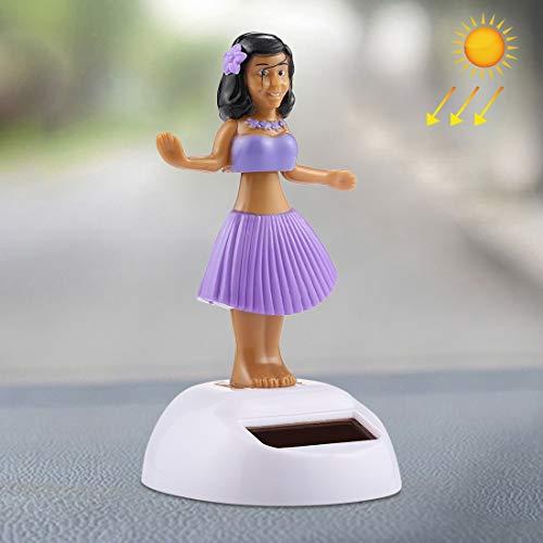 SNUIX Adornos dentro del coche/Bailar con energía solar Bobble la decoración del coche de juguete ornamento lindo de Hula princesa -Rosa (Color : Purple)