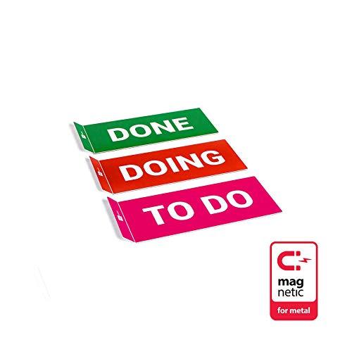 PATboard Scrum Board und Kanban Tafel COLUMNcards Magnetisch - 3 Magnetische Spaltenkarten für das Projektmanagement (TO DO, DOING, DONE)