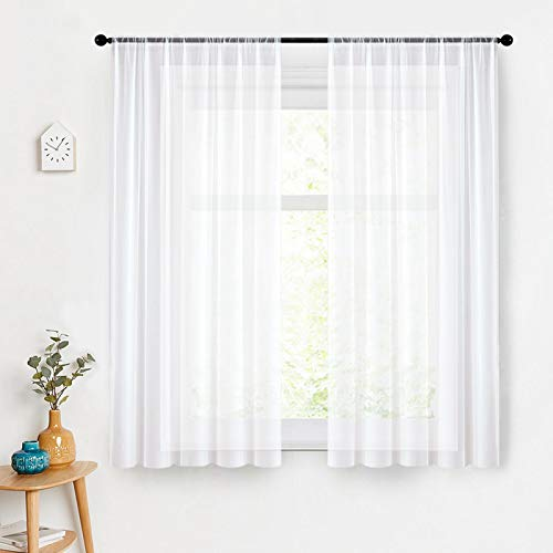 MRTREES Sheer Curtains 54 inch Length White Sheers Bedroom Voile Curtain Panels Window Treatment Set Living Room 2 Panels Rod Pocket