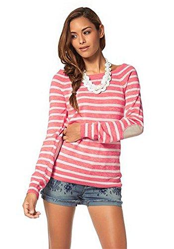 AJC Damen Pullover Streifen Rosa 40/42