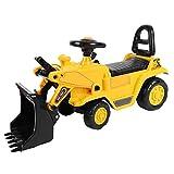 Escavatore Giocattolo, Camion Bulldozer Giocattolo per Bambini Piccoli con Carrello Elevatore Manuale e Paletta per Escavatore, Clacson e Sedile Aggiuntivo per Bambini Più Piccoli