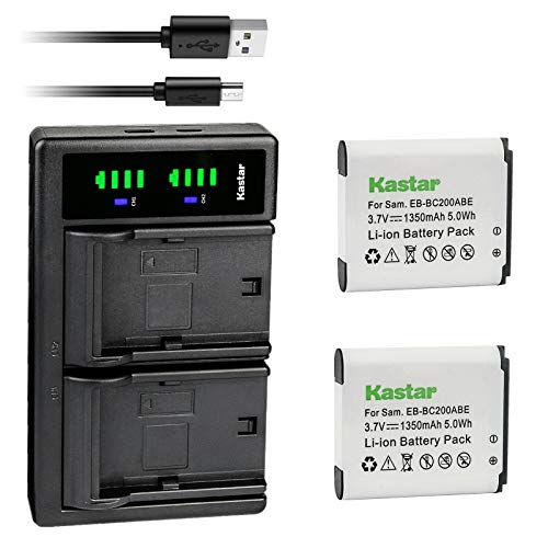 Kastar 2-Pack Battery and LTD2 USB Charger Replacement for Samsung EB-BC200, EB-BC200ABE, EB-BC200ABK, EB-BC200ABUGUS, GH43-04604A, Samsung Gear 360, SM-C200, SM-C200NZWAXAC, SM-C200NZWAXAR (US Model)