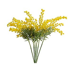 BIANTI 6PCS Artificial Albizia Julibrissin Fake Acacia Yellow Flowers Mimosa Leaves Flocking Plants for Home Garden Decor
