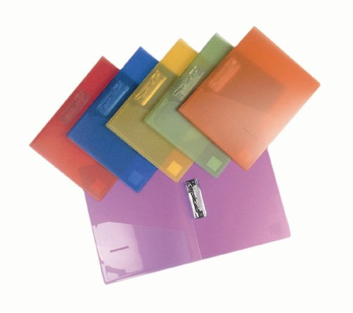 Filexec 6192, Clamp Binder, Frosted, Set of 6, 6 Assorted Colors Blueberry, Strawberry, Grape, Lime, Lemon, Tangerine
