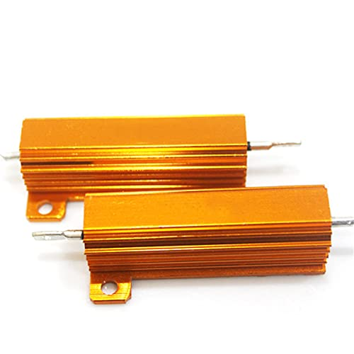 2pcs Yellow Aluminum Case Resistor 50W 20R Wirewound Resistor, for Power Supply, Inverter, Elevator, Stage Audio, Chassis Mounted Resistor