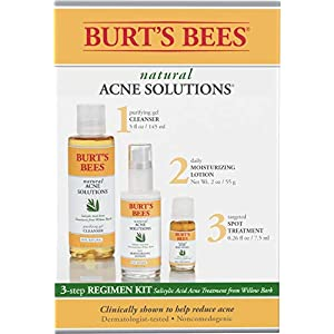 Acne treatment products Burt's Bees Natural Acne Solutions 3 Step Regimen Kit for Oily Skin, Cleanser,