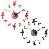 Horloge Murale Miroir Fille de Ballet 3D, Horloge Murale sans Cadre Créative 2PCS Horloge Murale à Quartz Muet, Décoration de la Maison Cadeau pour Les Amateurs de Musique de Ballet