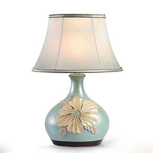 OOFWY Knopf Typ Harz Pfingstrose Vase Tischlampe Modern Einfache Stil Schlafzimmer Nachttisch Wohnzimmer LED Dekoration Tischleuchte