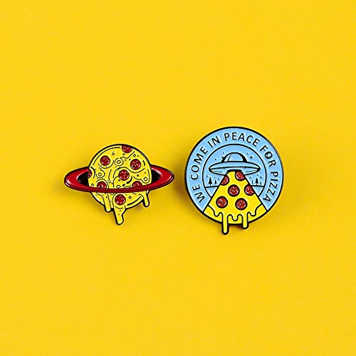 SHAOWU We Come In Peace For Pizza pins Pizza planet round badges brooches Lapel hat clothes enamel pin Food fashion jewelry gifts Pizzaplanet