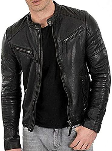 HiFacon Herren Lederjacke Casual Mode Café Racer Jacken Echtleder Motorrad Retro Multipocket, Schwarz – Terminator Lederjacke für Herren, XXXL