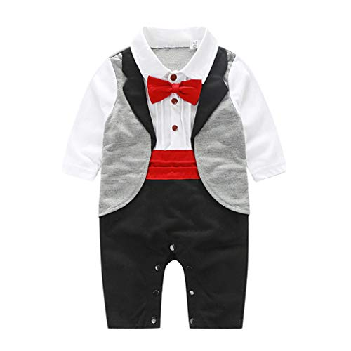 Toddler Toddler Baby Boy Gentleman Bowtie Swallowtail Romper Jumpsuit Outfits Toddler Short Sleeve T-Shirt Print Top Dress for Kid Girl Boy