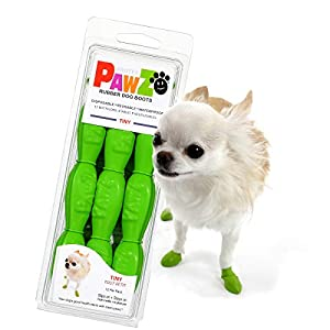 PawZ Dog Boots | Rubber Dog Booties | Waterproof Snow Boots for Dogs | Paw Protection for Dogs | 12 Dog Shoes per Pack (Tiny, Apple Green)