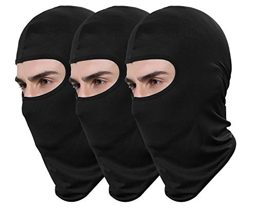 Pack of 3 Black Ski Mask Bandana Face Hat for Outdoor Airsoft Motorcycle Hood Helmet (Black)