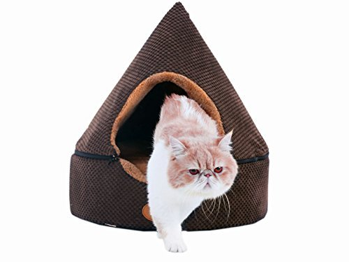 PLS Birdsong Pointy Dog Cave Cuddle Dog Bed, Soft Dog House, Two Modes, Pet Bed, Dog Beds for Medium Dogs, Completely Washable, Brown, Large