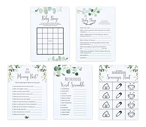 Premium Baby Shower Card Games Variety Pack - 5 Funny Party Game Pack for Boy, Girl, or Gender Reveal - Gender Neutral - Includes Classic Baby Shower Games Like Baby Bingo & Who Knows Mommy Best