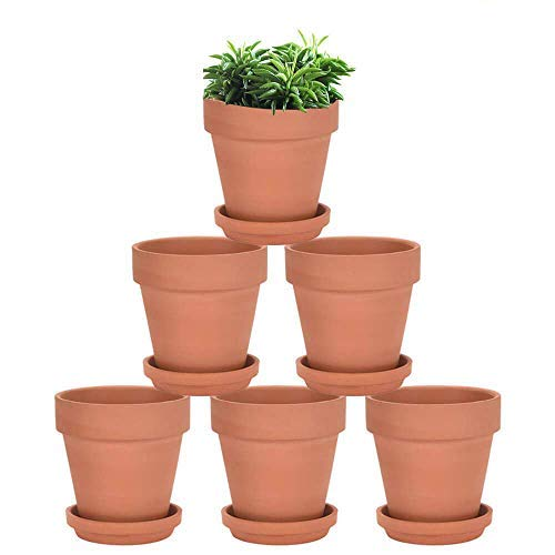 Terra Cotta Pots with Saucer  6 Pack 5 Inch Clay Pot Ceramic Pottery Planter Cactus Flower Pots Succulent Pot Drainage Hole Great for Plants Crafts and Wedding Favor