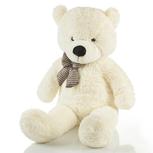 Feluna Riesen Teddybär XXL Kuschelbär 120 cm groß Plüschbär - Original Teddy Bär mit Schleife Weiß