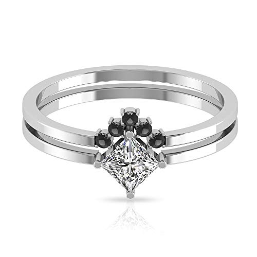 Anillo de compromiso con diamante certificado IGI en forma de princesa de 0,47 ct, exclusivo de diamantes negros de boda, anillos de compromiso apilables de Chevron, 10K Oro blanco, Size:EU 54